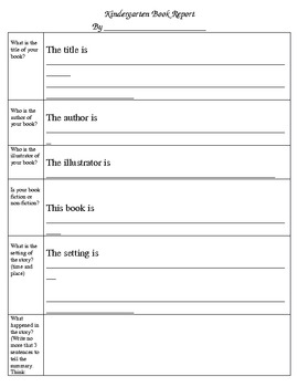 kindergarten book report for authors study unit