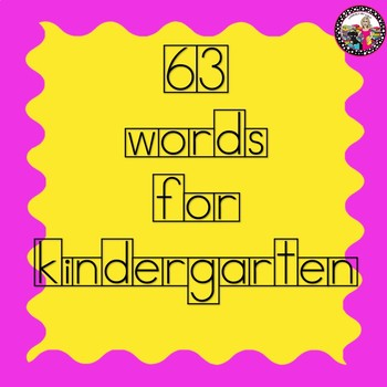 Kindergarten Boxed Sight and High Frequency Words for Word Wall