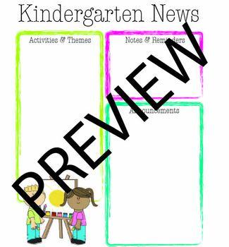 Kindergarten Bright Color Newsletter