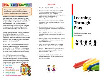 Kindergarten Parent Brochure - Learning Through Play