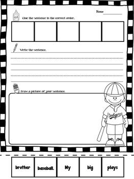 Kindergarten Build A Sentence