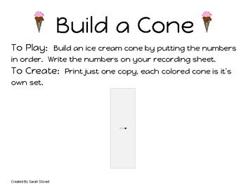 Kindergarten Build a Cone Game