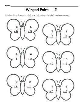 Butterfly Math - Addition & Subtraction Worksheets