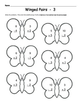 kindergarten butterfly math addition subtraction worksheets. Black Bedroom Furniture Sets. Home Design Ideas
