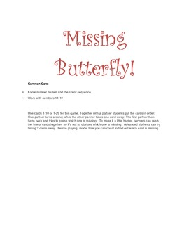 Kindergarten Butterfly Math - Common Core aligned