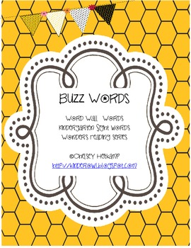 Kindergarten Buzz Words- McGraw-Hill Wonders Reading Series