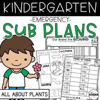 "Kindergarten C.C. Aligned April ""Plants"" Print & Go Sub Plan + Editable Sub Info"