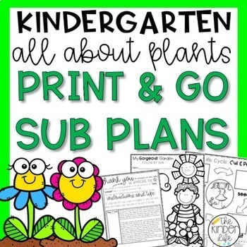 Kindergarten Sub Plans April Plants Print & Go C.C. Aligned + Editable Sub Info