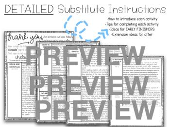 "Kindergarten C.C. Aligned January ""MLK Jr"" Print&Go Sub Plans+Editable Sub Info"