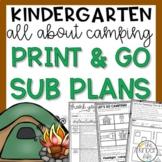 Kindergarten Sub Plans June Camping C.C. Aligned + Editable Sub Info Binder