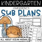 """Kindergarten C.C. Aligned June """"Sea Animals"""" Print & Go Sub Plans"""