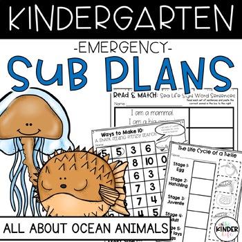 Kindergarten Sub Plans June Sea Animals Print & Go + Editable Info Binder