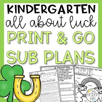 Kindergarten Emergency Sub Plans March St. Patrick's Day