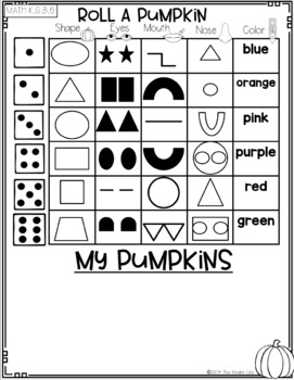 November Kindergarten Pumpkins Sub Plans