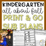 Kindergarten Sub Plans November Fall C.C. Aligned + Editable Sub Info Binder