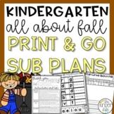 November Kindergarten Emergency Sub Plans Fall