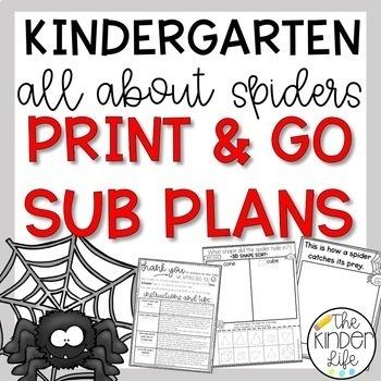 Kindergarten C.C. Aligned October Spiders Print & Go Sub Plans+Editable Sub Info