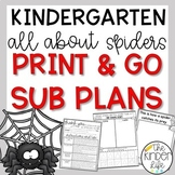 Kindergarten Sub Plans October Spiders C.C. Aligned + Editable Sub Info