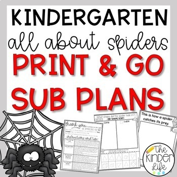 Kindergarten Sub Plans October Spiders C.C. Aligned + Editable Sub Info