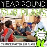 Kindergarten Sub Plans Themed Year-Round BUNDLE C.C. Aligned + Editable Sub Info