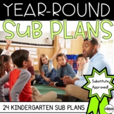 Kindergarten Sub Plans for the Entire Year BUNDLE + Editable Sub Binder
