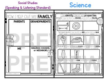"Kindergarten C.C. Aligned Sept ""Family"" Print & Go Sub Plans+Editable Sub Info"
