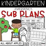 Kindergarten Sub Plans September Apples C.C. Aligned + Editable Sub Info