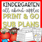September Kindergarten Emergency Sub Plans Apples