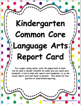 Kindergarten: CC LA, Math & NGSS Report Cards *UPDATED*