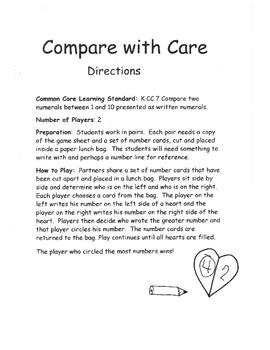 Kindergarten CC Math Comparing Numbers 1-10  K.CC.7 Game Center