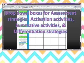 ~Kindergarten CCGPS Editable Lesson Plans with Dropdown Boxes~