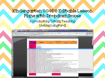 ~Kindergarten CCGPS Editable Lesson Plans with Dropdown Boxes~