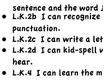 Kindergarten CCLS Posters Part 2