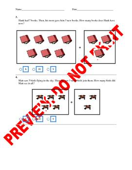 Kindergarten CCSS Addition & Subtraction Assessment Items