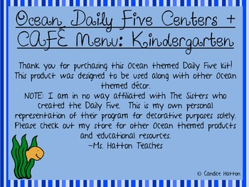 Kindergarten CCSS Aligned Daily Five CAFE Bundle - Ocean Colors