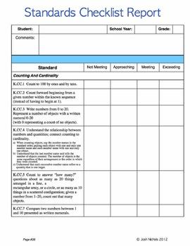 Kindergarten CCSS Common Core Math Checklist and Reports