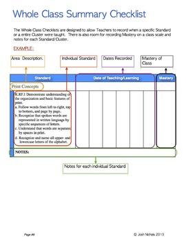 Kindergarten CCSS ELA Checklist and Report Document