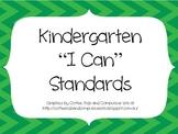Kindergarten CCSS ELA I Can Standards Posters