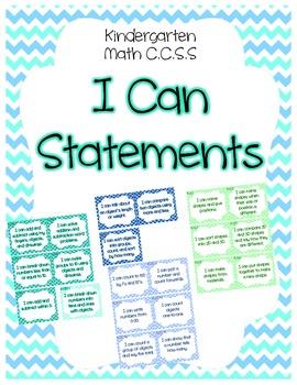 Kindergarten CCSS I Can Statement Display Cards