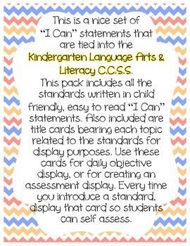 Kindergarten CCSS I Can Statement Display Cards