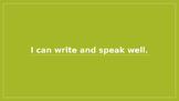 "Kindergarten CCSS Language Standards in ""I Can"" statements"