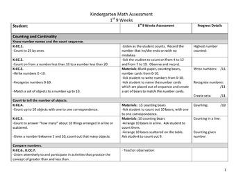 Kindergarten Common Core Math Assessment Toolkit 1st 9 Weeks