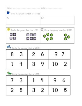 Kindergarten CCSS Math Assessments: Counting and Cardinality