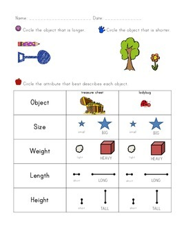 Kindergarten CCSS Math Assessments: Measurement and Data