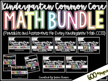 Kindergarten CCSS Math Bundle {Printables & Assessments for Each Standard}