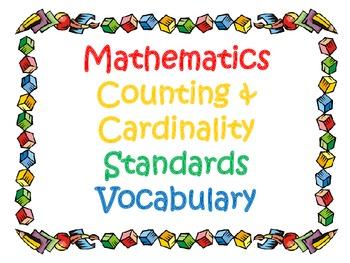 Kindergarten CCSS Math Vocabulary Card Set 1