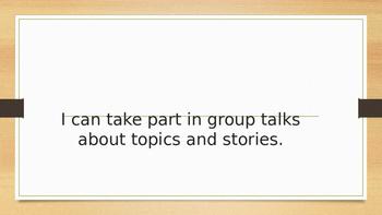 "Kindergarten CCSS Speaking & Listening Standards in ""I Can"" statements"