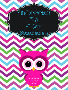 "Kindergarten CCSS standards and ""I can"" statements"