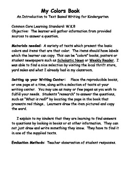 Kindergarten CCore Writing Center W.K.8 Gather Information from Text: Colors