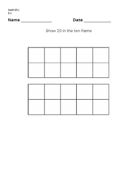Kindergarten CH 8 GO MATH Represent, count and write 20 and beyond
